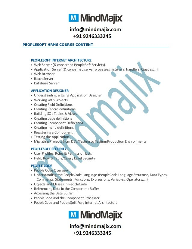 oracle Peoplesoft hrms technical online training