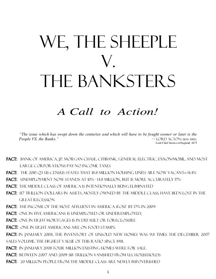 """We, the sheeple                       V.                 The banksters                           A Call to Action!      """"T..."""