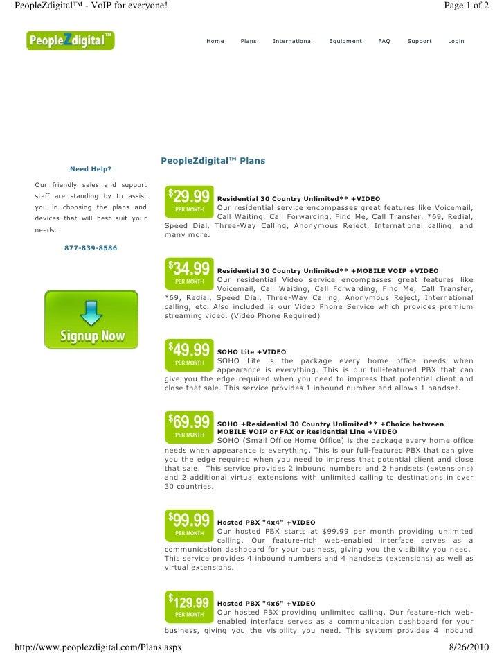 Peoplez Digital Plans! PHPI VoIP Services