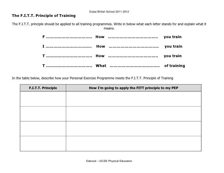 Worksheets Fitt Principle Worksheet worksheets fitt principle worksheet laurenpsyk free pep11 physical education 11 dubai british school 2011 2012the f i t principle