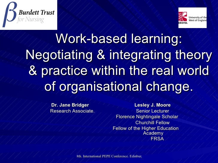 Work-based learning: Negotiating & integrating theory & practice within the real world of organisational change. Dr. Jane ...
