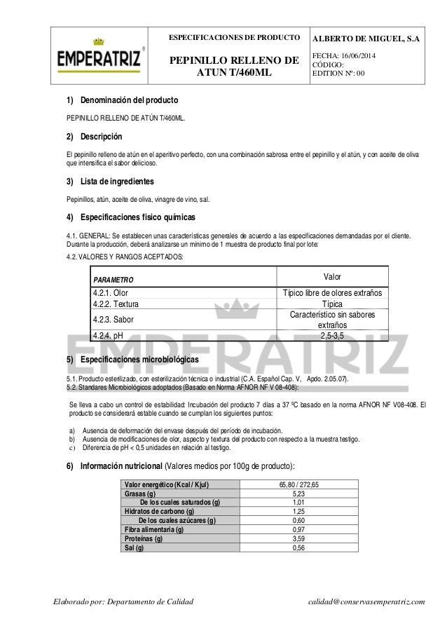 Pepinillo relleno de at n 460 ml especificaciones y valor for Manual tecnicas culinarias