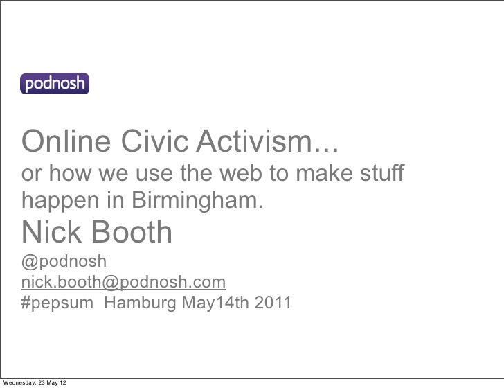 Online Civic Activism...     or how we use the web to make stuff     happen in Birmingham.     Nick Booth     @podnosh    ...