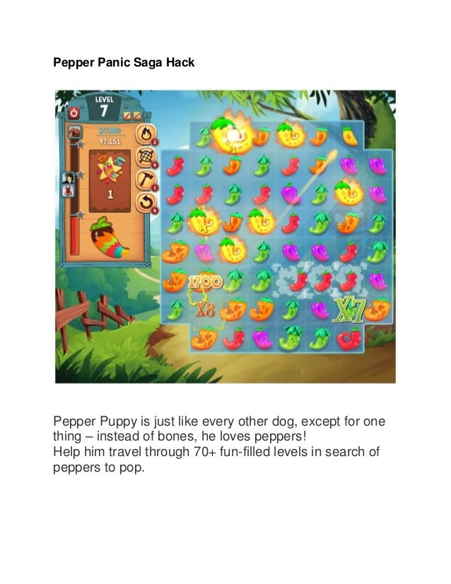 Pepper Panic Saga Hack  Pepper Puppy is just like every other dog, except for one thing – instead of bones, he loves peppe...