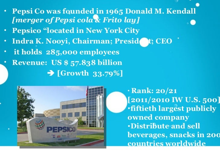 pepsi case analysis As a global company, pepsico represents an interesting case study for the review of some theoretical elements of structural design: (1) international development.