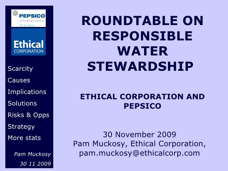 Pepsi Co Ethical Corporation Roundtable Debate 30 11 09