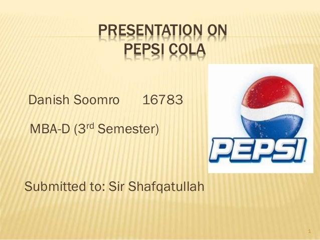 Presentation on pepsi co
