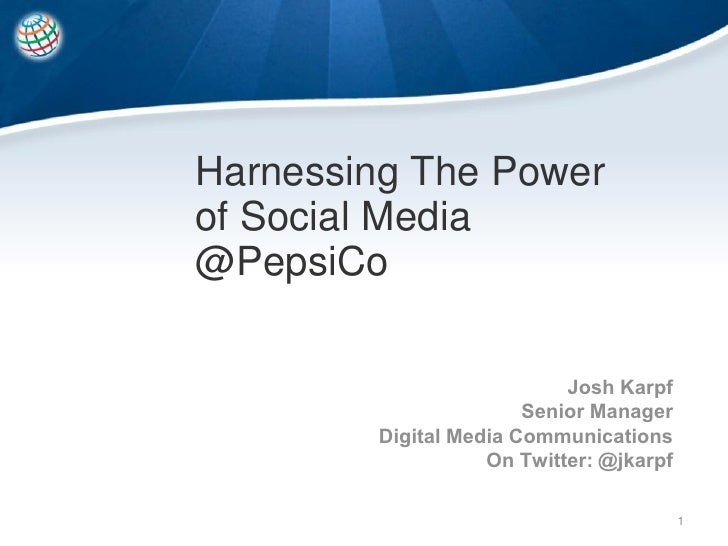 BDI 1/13/10 Social Integration Conference - PepsiCo Case Study