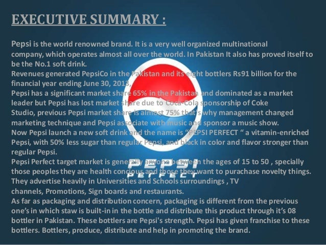 marketing plan about pepsico A marketing plan for lipton ice tea institutional affiliation date 2 marketing plan: base through a joint agreement with pepsico and aggressive marketing.