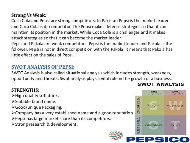 situation analysis of pepsi This is a report based on the swot analysis of pepsico strengths pepsico is a  large global company that has many strengths and advantages one of its main.