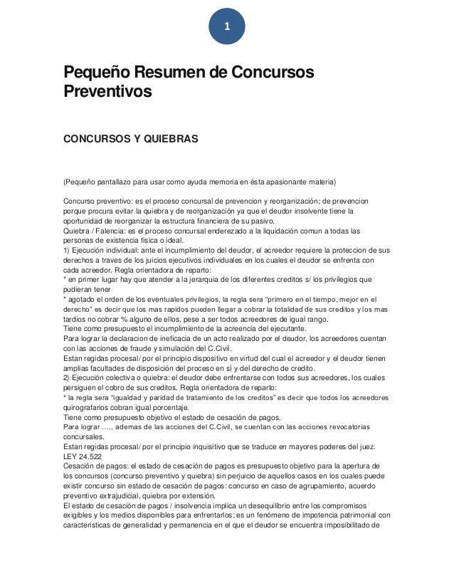 1Pequeño Resumen de ConcursosPreventivosCONCURSOS Y QUIEBRAS(Pequeño pantallazo para usar como ayuda memoria en ésta apasi...