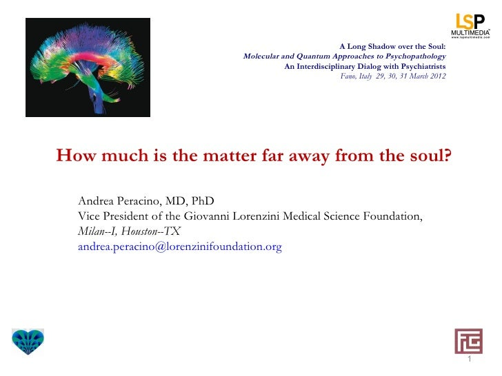 A Long Shadow over the Soul:                                  Molecular and Quantum Approaches to Psychopathology         ...