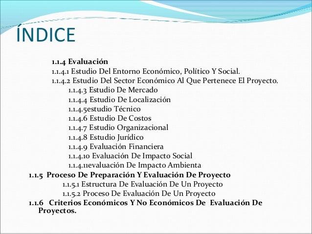 ÍNDICE 1.1.4 Evaluación 1.1.4.1 Estudio Del Entorno Económico, Político Y Social. 1.1.4.2 Estudio Del Sector Económico Al ...