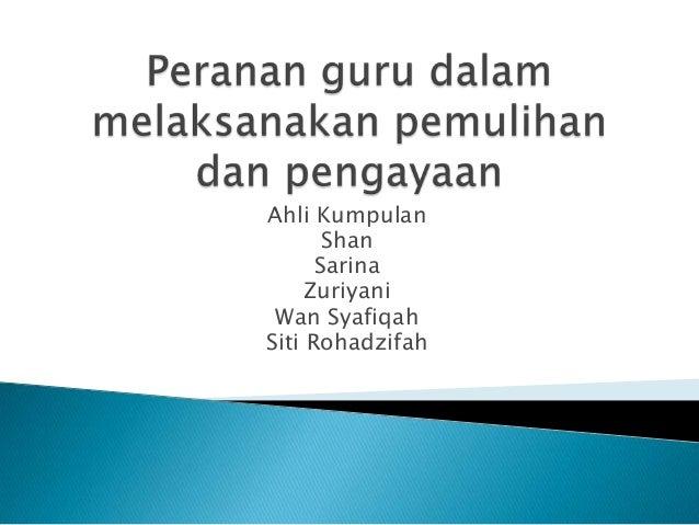 Ahli Kumpulan Shan Sarina Zuriyani Wan Syafiqah Siti Rohadzifah