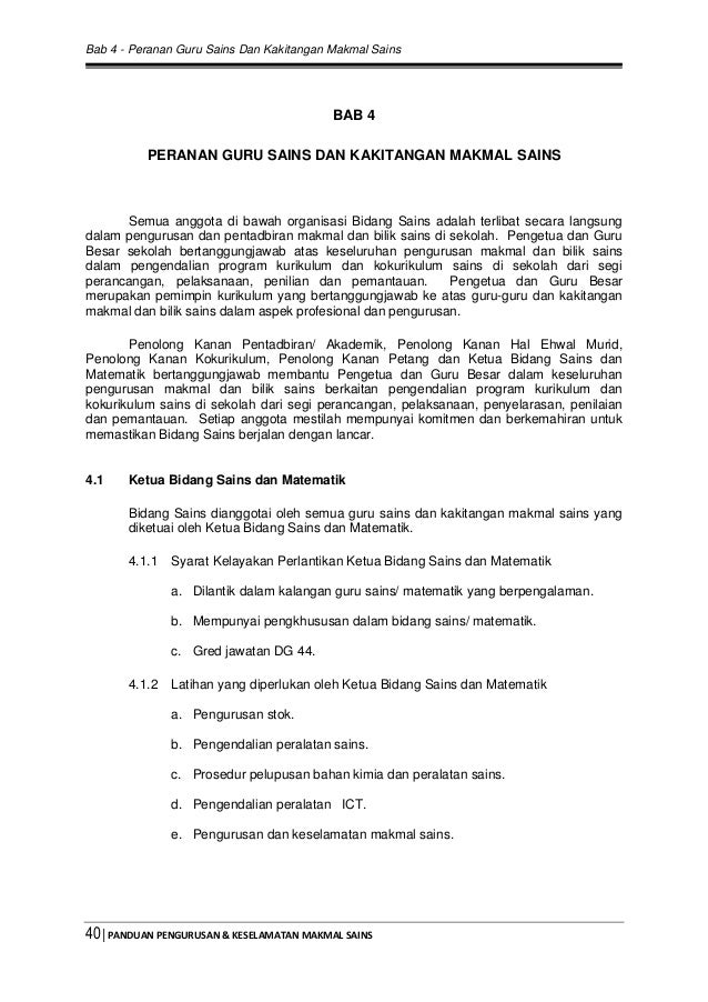 Bab 4 - Peranan Guru Sains Dan Kakitangan Makmal Sains 40│PANDUAN PENGURUSAN & KESELAMATAN MAKMAL SAINS BAB 4 PERANAN GURU...