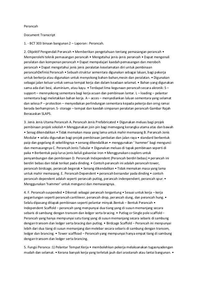 PerancahDocument Transcript1. - BCT 303 binaan bangunan 2 – Laporan : Perancah.2. Objektif Pengendali Perancah • Memberika...