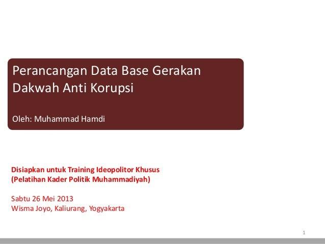 Perancangan Data Base GerakanDakwah Anti KorupsiOleh: Muhammad HamdiDisiapkan untuk Training Ideopolitor Khusus(Pelatihan ...