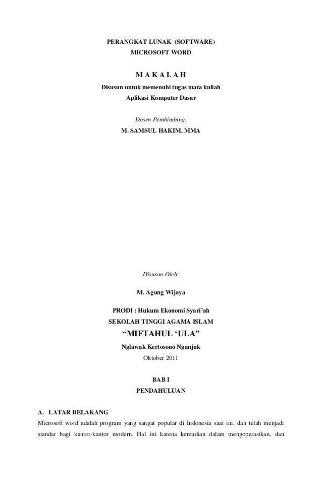 PERANGKAT LUNAK (SOFTWARE)MICROSOFT WORDM A K A L A HDisusun untuk memenuhi tugas mata kuliahAplikasi Komputer DasarDosen ...