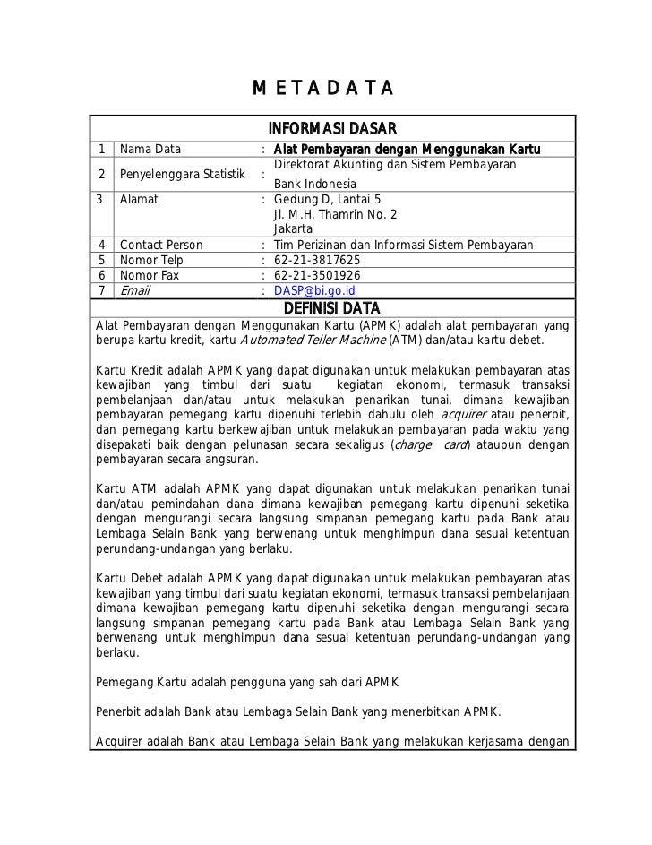 Peraturan bank indonesia (pbi) tentang alat pembayaran menggunakan kartu (apmk)