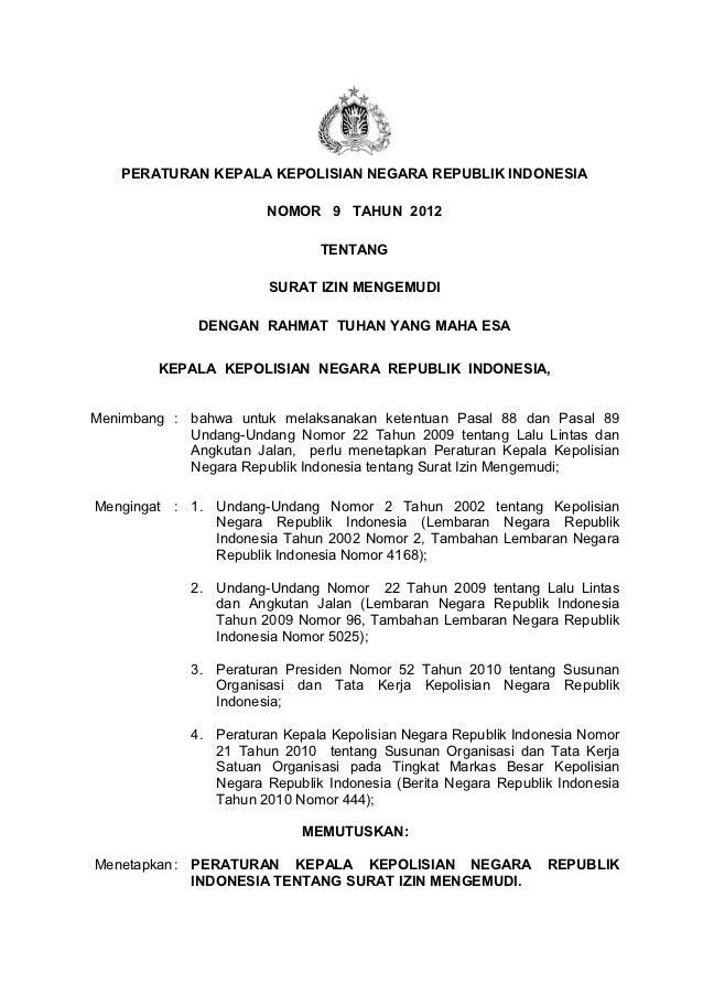 Peraturan kapolri no 9 thn 2012 ttg regident pengemudi