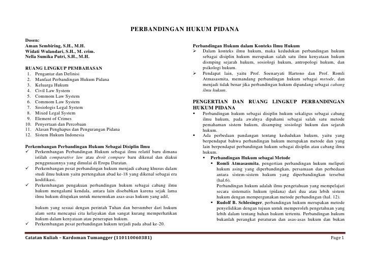 PERBANDINGAN HUKUM PIDANADosen:Aman Sembiring, S.H., M.H.                                                   Perbandingan H...