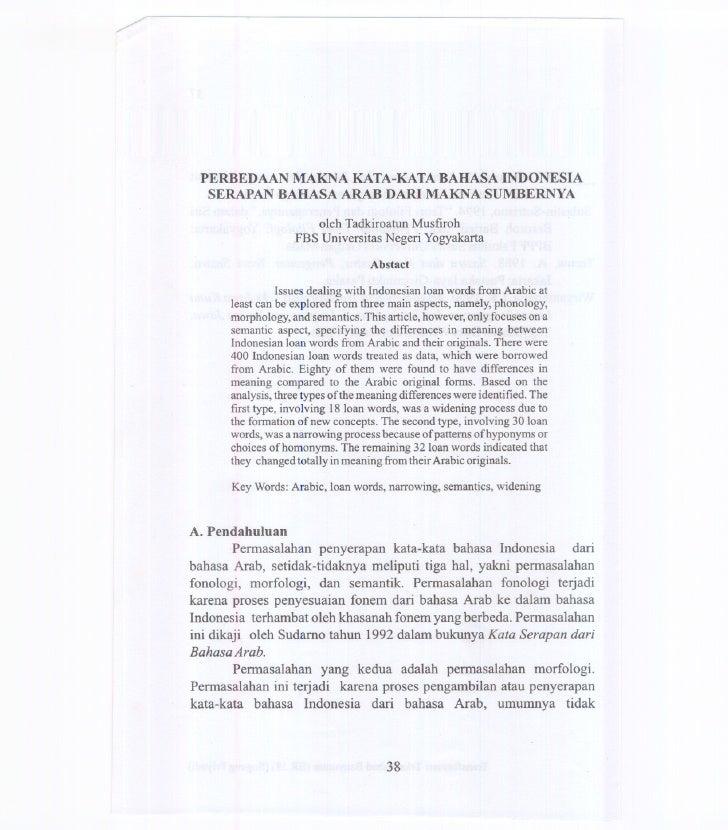 PERBEDAAN MAKNA KATA-KATA BAHASA INDONESIA  SERAPAN BAHASA ARAB DARI MAKNA SUMBERNYA                      oleh Tadkiroatun...