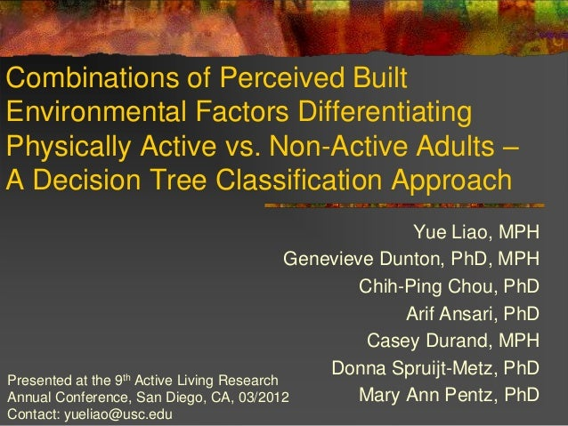 Combinations of Perceived BuiltEnvironmental Factors DifferentiatingPhysically Active vs. Non-Active Adults –A Decision Tr...