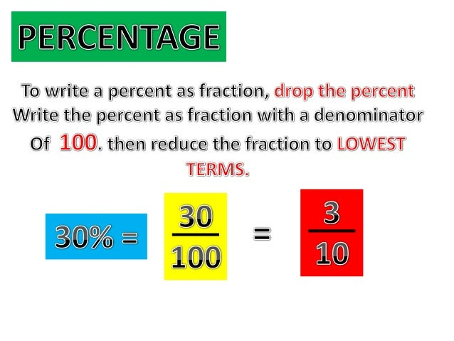 Converting percents to decimals & fractions example