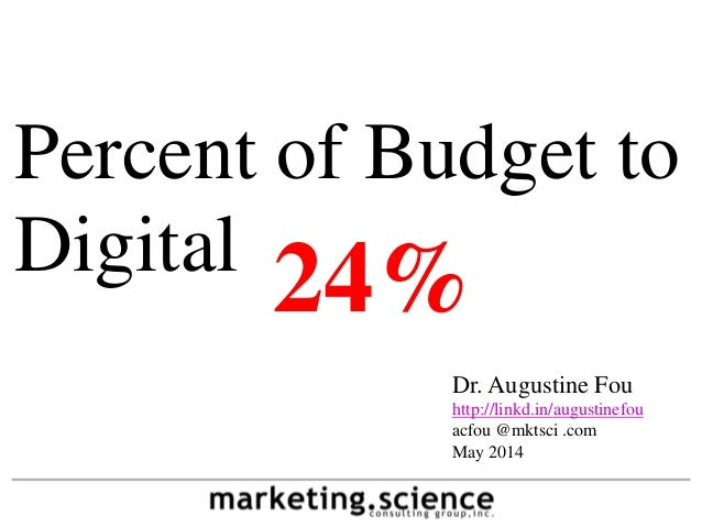 Percent of Budget to Digital Dr. Augustine Fou http://linkd.in/augustinefou acfou @mktsci .com May 2014 24%