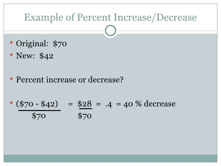 how to determine percent change