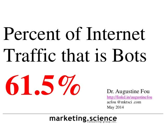 Percent of Internet Traffic that is Bots Dr. Augustine Fou http://linkd.in/augustinefou acfou @mktsci .com May 2014 61.5%
