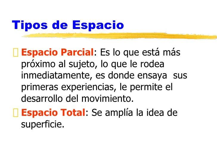 Percep espacio temporal - Tipos de espacios ...