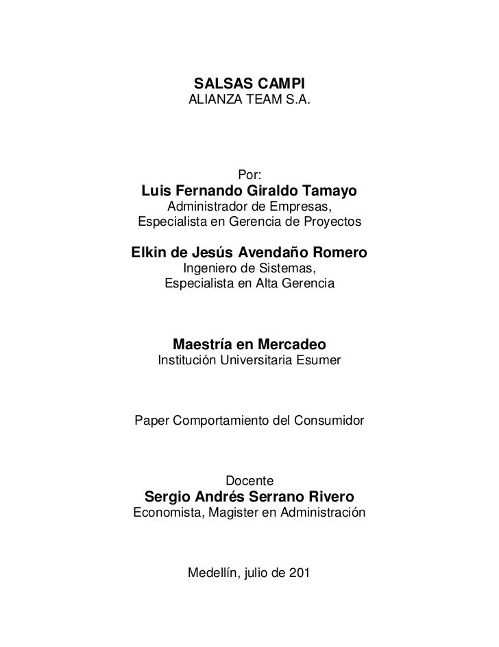 SALSAS CAMPI         ALIANZA TEAM S.A.                 Por: Luis Fernando Giraldo Tamayo    Administrador de Empresas,Espe...
