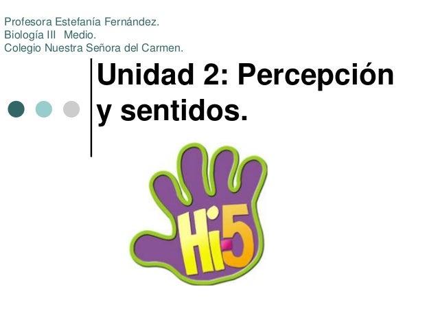 Unidad 2: Percepción y sentidos. Profesora Estefanía Fernández. Biología III Medio. Colegio Nuestra Señora del Carmen.