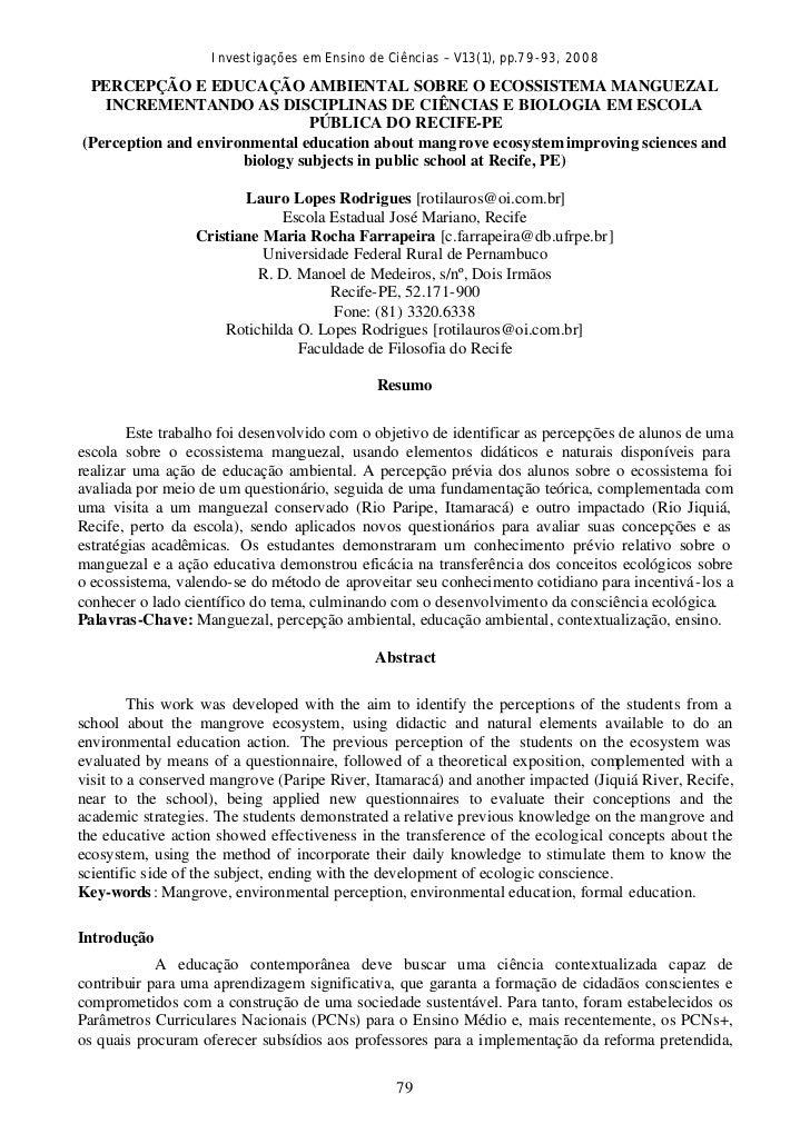 Investigações em Ensino de Ciências – V13(1), pp.79-93, 2008 PERCEPÇÃO E EDUCAÇÃO AMBIENTAL SOBRE O ECOSSISTEMA MANGUEZAL ...