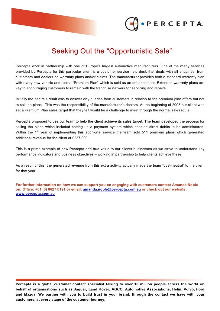 """Seeking Out the """"Opportunistic Sale"""" Percepta work in partnership with one of Europe's largest automotive manufacturers. O..."""