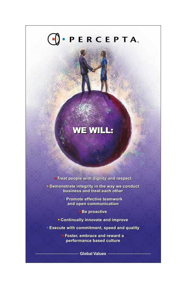 WE WILL:        Treat people with dignity and respect Demonstrate integrity in the way we conduct      business and treat ...