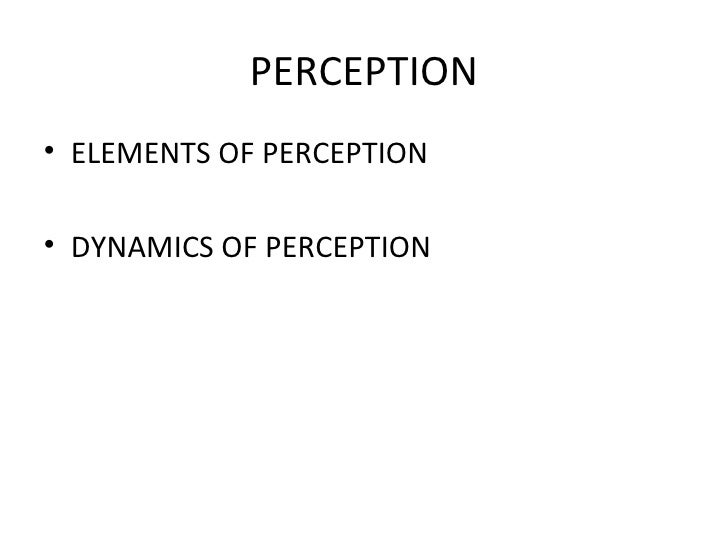 PERCEPTION <ul><li>ELEMENTS OF PERCEPTION </li></ul><ul><li>DYNAMICS OF PERCEPTION </li></ul>
