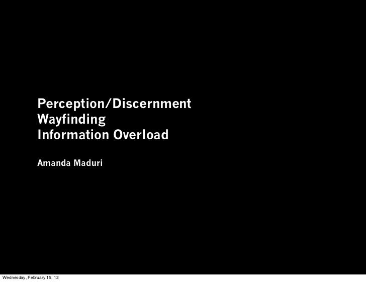 Perception/Discernment                Wayfinding                Information Overload                Amanda MaduriWednesday...