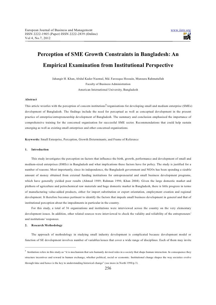 Perception of sme growth constraints in bangladesh