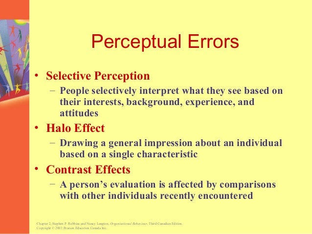"""selective perception examples Selective perception, diversity and team leadership i'm sure you are familiar with the notion of """"selective perception"""" it is not simply that we pay more."""