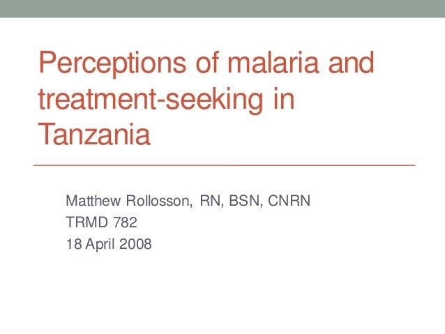 Perceptions of malaria andtreatment-seeking inTanzania  Matthew Rollosson, RN, BSN, CNRN  TRMD 782  18 April 2008