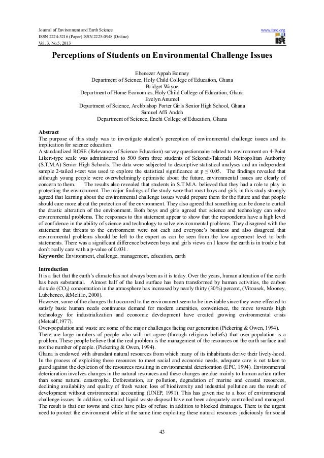 Journal of Environment and Earth Science www.iiste.orgISSN 2224-3216 (Paper) ISSN 2225-0948 (Online)Vol. 3, No.5, 201343Pe...