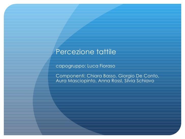 Percezione tattile capogruppo: Luca Fioraso Componenti: Chiara Basso, Giorgio De Conto, Aura Masciopinto, Anna Rossl, Silv...