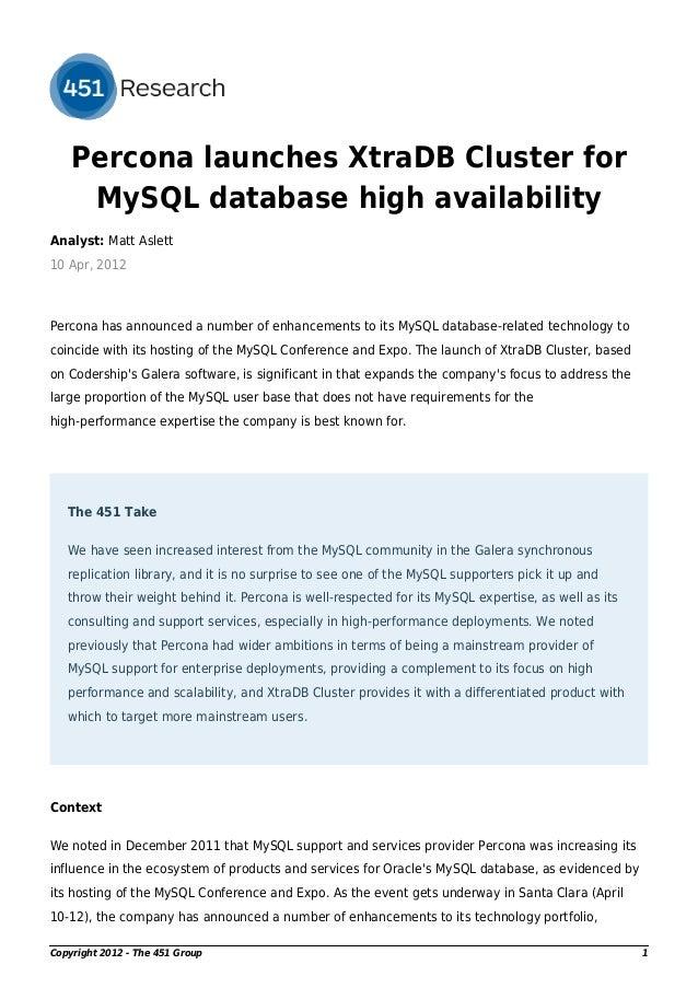 Percona 为 MySQL 数据库高可用性发布 XtraDB 集群