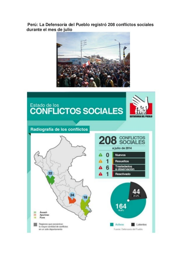 Perú: La Defensoría del Pueblo registró 208 conflictos sociales durante el mes de julio