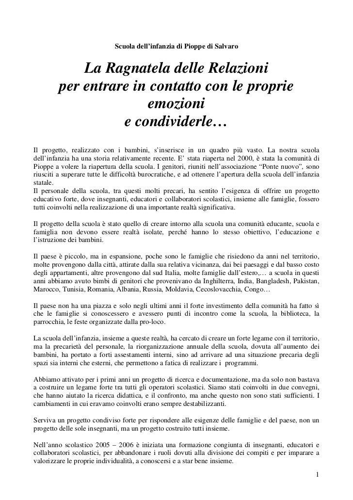 Scuola dell'infanzia di Pioppe di Salvaro             La Ragnatela delle Relazioni         per entrare in contatto con le ...