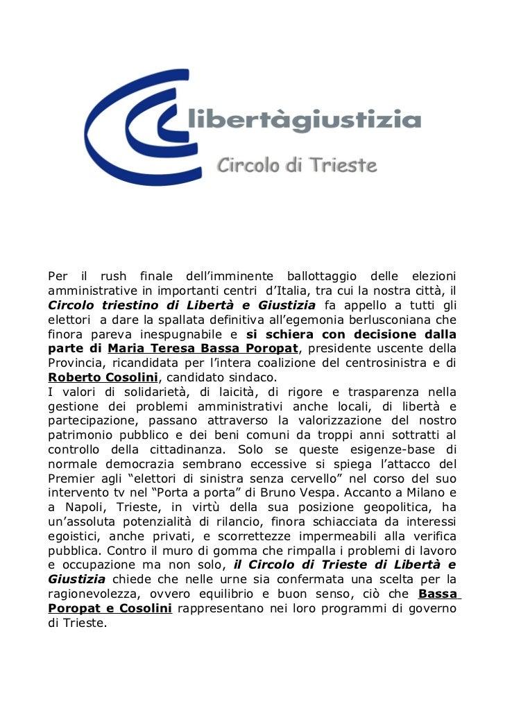Per il rush finale dell'imminente ballottaggio delle elezioniamministrative in importanti centri d'Italia, tra cui la nost...