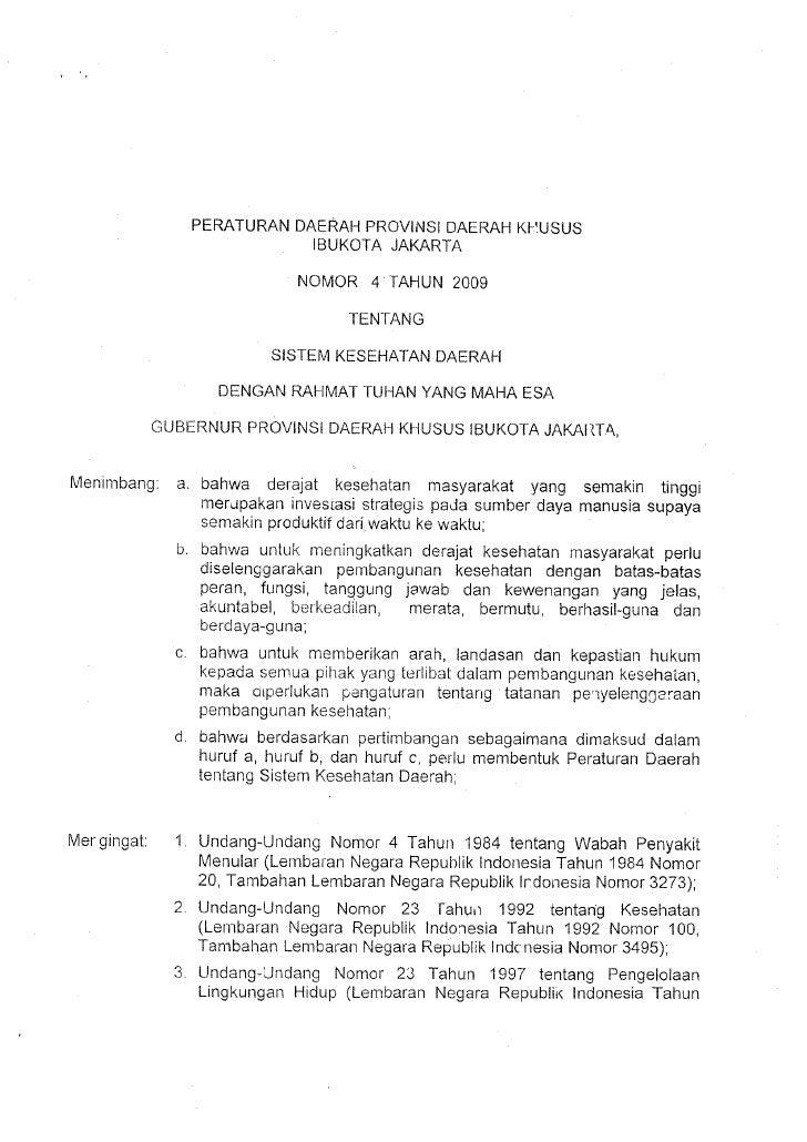 Perda DKI Jakarta Nomor 4 Tahun 2009 Siskesda