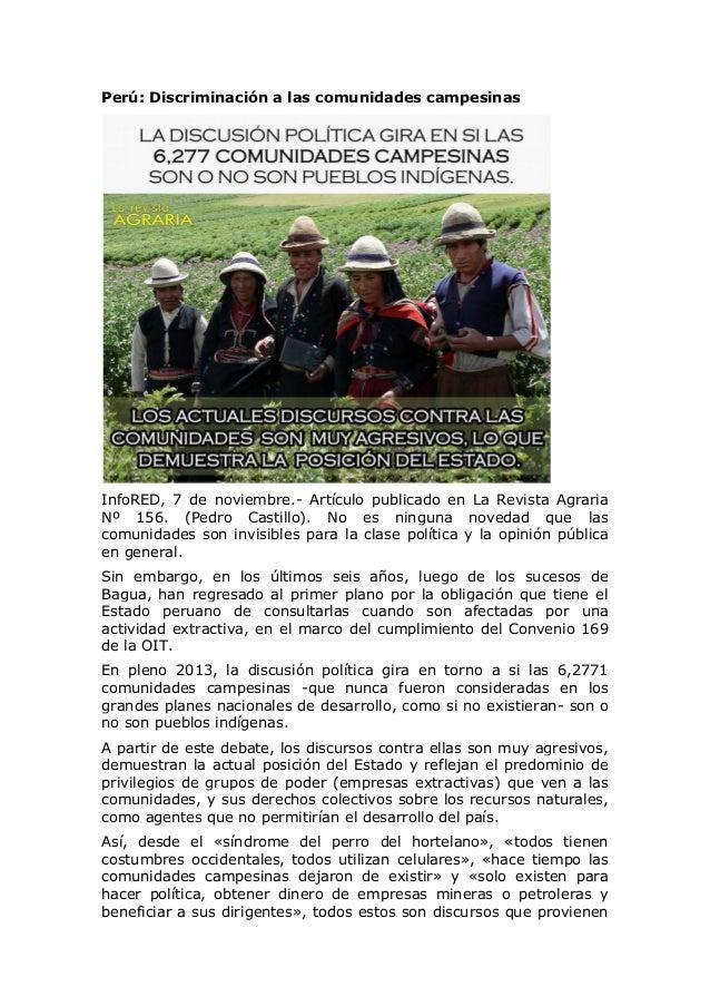 Perú: Discriminación a las comunidades campesinas